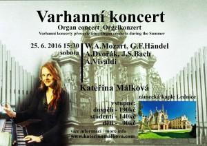 Varhanní koncert v Lednici na Moravě 25.6. 15:30h